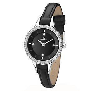 Accurist Ladies' Stone Set Black Leather Strap Watch - Product number 2400197