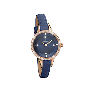 Accurist Ladies' Stone Set Navy Leather Strap Watch - Product number 2400200