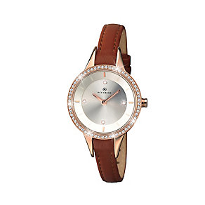 Accurist Ladies' Stone Set Brown Leather Strap Watch - Product number 2400219
