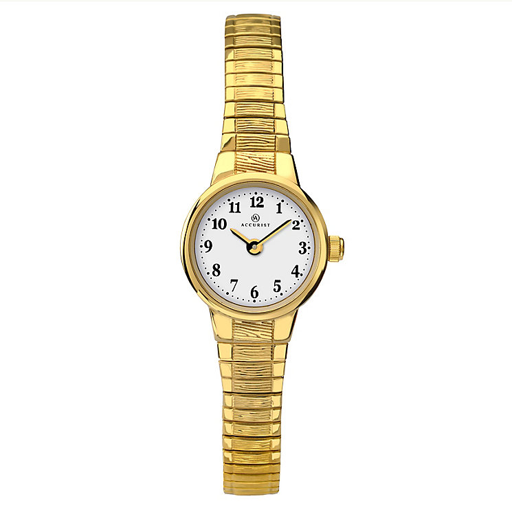 Accurist Ladies' Gold Plated White Dial Bracelet Watch - Product number 2400227
