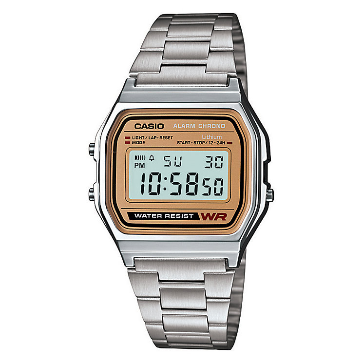 Casio Men's Stainless Steel Bronze Detail Digital Watch - Product number 2400413