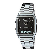 Casio Men's Stainless Steel Black Dial Square Case Watch - Product number 2400448