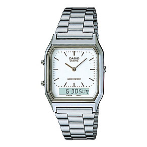 Casio Men's Stainless Steel White Dial Square Case Watch - Product number 2400545