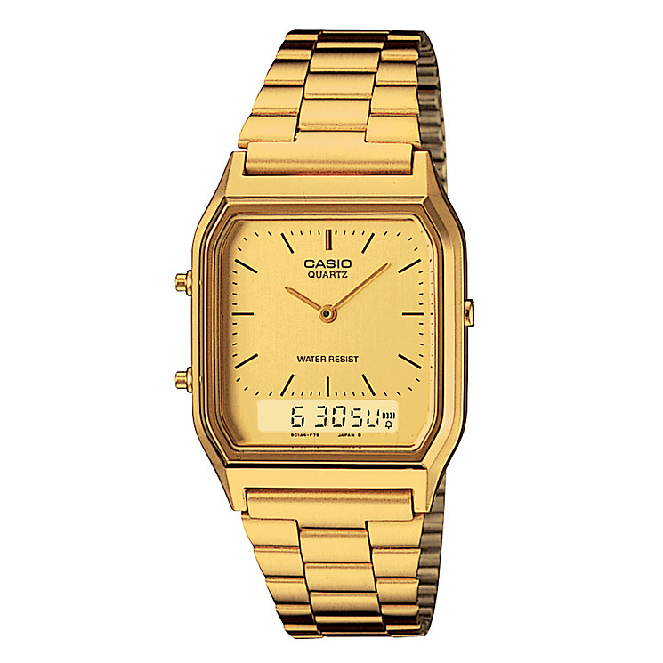 Casio Men's Stainless Steel Yellow Dial Square Case Watch - Product number 2400588