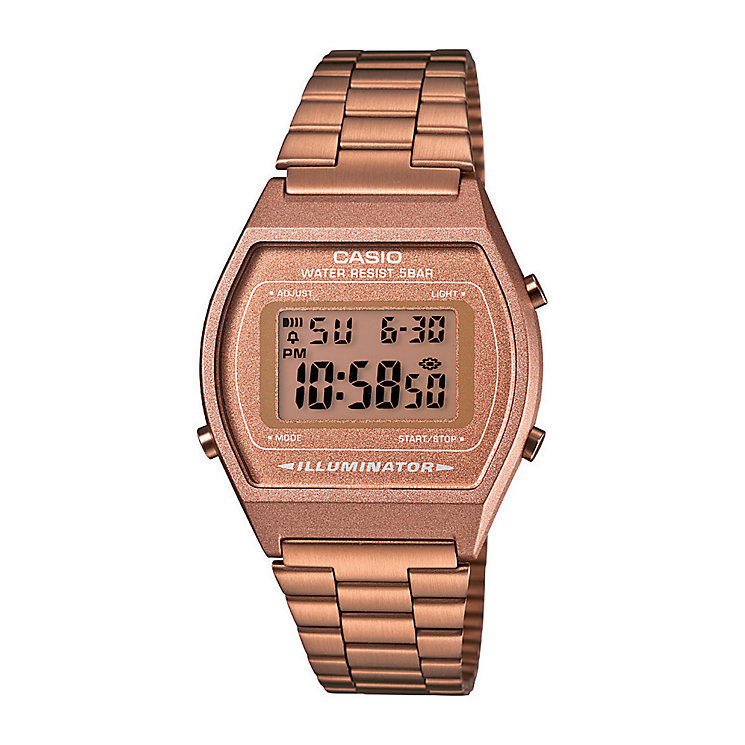 casio watches edifice g shock solar digital h samuel casio men s rose gold tone stainless steel digital watch product number 2400596