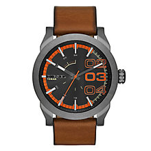 Diesel Mens Double Down Black Dial Brown Strap Watch - Product number 2400979