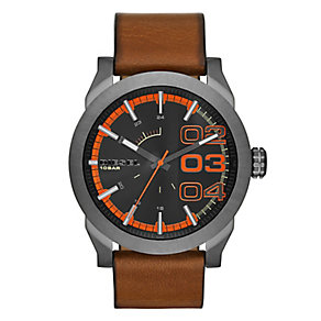 Diesel Men's Grey & Orange Dial With Tan Leather Strap Watch - Product number 2400979