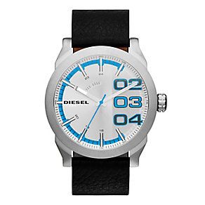 Diesel Men's Silver & Blue Dial Black Leather Strap Watch - Product number 2400987