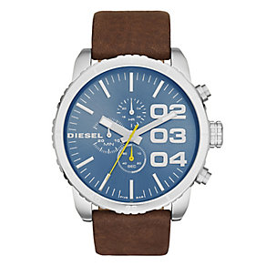 Diesel Men's Blue Dial & Tan Leather Strap Watch - Product number 2401002