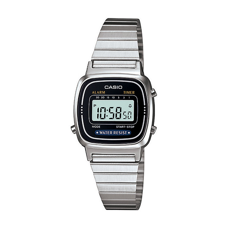 Casio Ladies' Mini Stainless Steel Black Dial Digital Watch - Product number 2401010