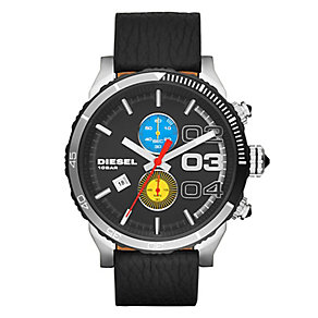 Diesel Men's Black Dial & Black Leather Strap Watch - Product number 2401029