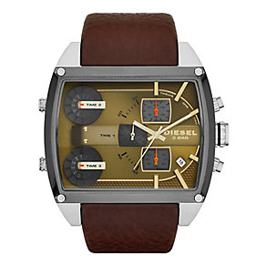 Diesel Men's Brown Dial & Brown Leather Strap Watch - Product number 2401061