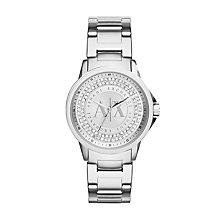 Armani Exchange Ladies' Silver Tone Stone Set Watch - Product number 2401231