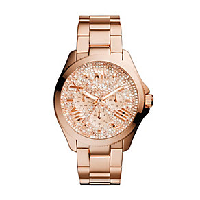 Fossil Ladies' Cecile Rose Gold Plate Sparkle Bracelet Watch - Product number 2402866