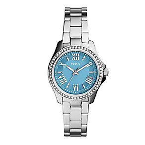 Fossil Ladies' Cecile Blue Dial Stainless Steel Watch - Product number 2402874