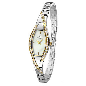 Accurist Ladies' Two Tone Stone Set Semi-Bangle Watch - Product number 2403757