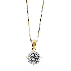 CARAT* 9ct yellow gold stone set round pendant - Product number 2405555
