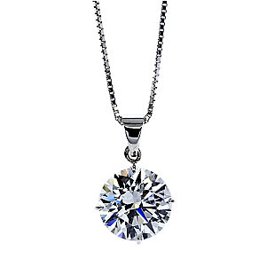 CARAT* 9ct white gold stone set round pendant - Product number 2405563