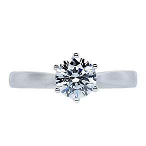 CARAT* 9ct white gold stone set solitaire ring size K - Product number 2405628