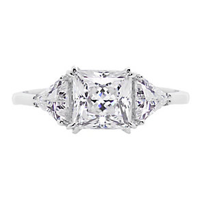CARAT* 9ct white gold stone set trilogy ring size O - Product number 2405776