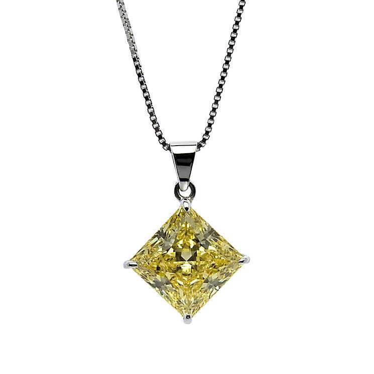 CARAT* 9ct white gold stone set princess cut pendant - Product number 2405806