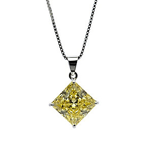CARAT* 9ct white gold stone set princess cut pendant - Product number 2405806