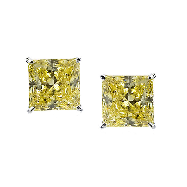 CARAT* 9ct white gold canary yellow princess stud earrings - Product number 2405873