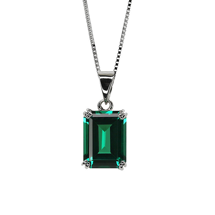 CARAT* 9ct white gold created emerald pendant - Product number 2405903