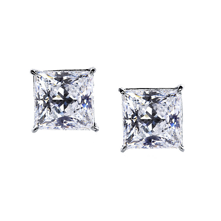 CARAT* 9ct white gold stone set princess stud earrings - Product number 2405989