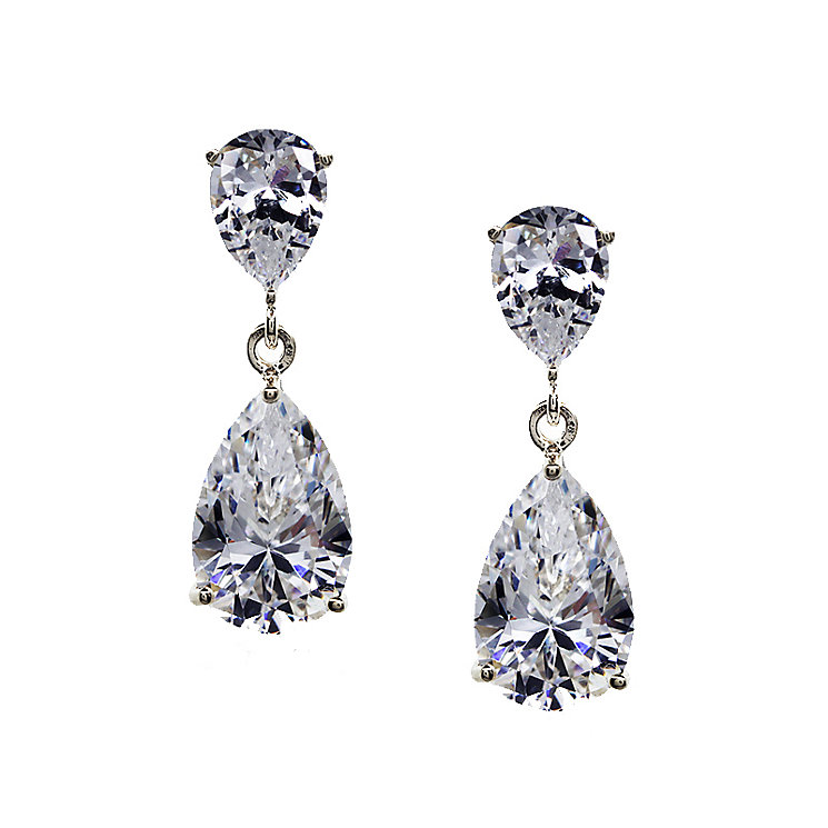 CARAT* 9ct white gold stone set pear drop earrings - Product number 2405997