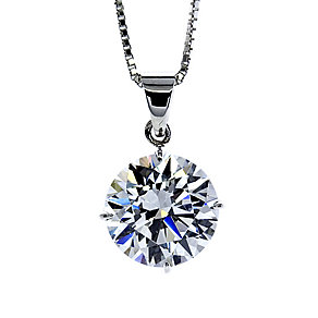 CARAT* 9ct white gold stone set round pendant - Product number 2406004
