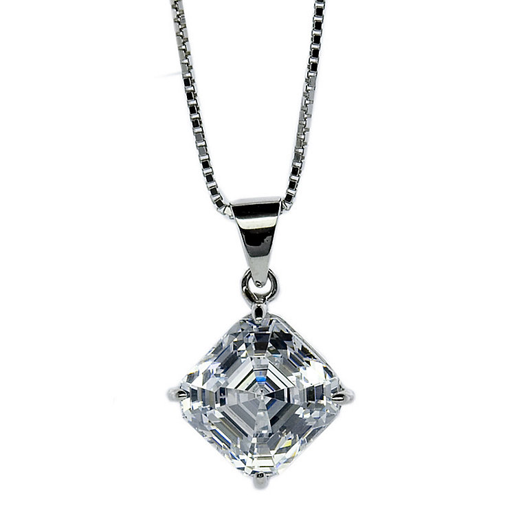 CARAT* 9ct white gold stone set princess cut pendant - Product number 2406020