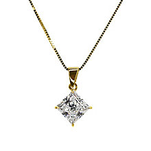 CARAT* 9ct yellow gold stone set princess cut pendant - Product number 2406128