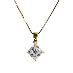 CARAT* 9ct yellow gold stone set princess cut pendant - Product number 2406128