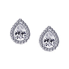 CARAT* silver stone set pear border stud earrings - Product number 2406160