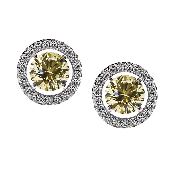 CARAT* silver light fancy yellow stone border stud earrings - Product number 2406187