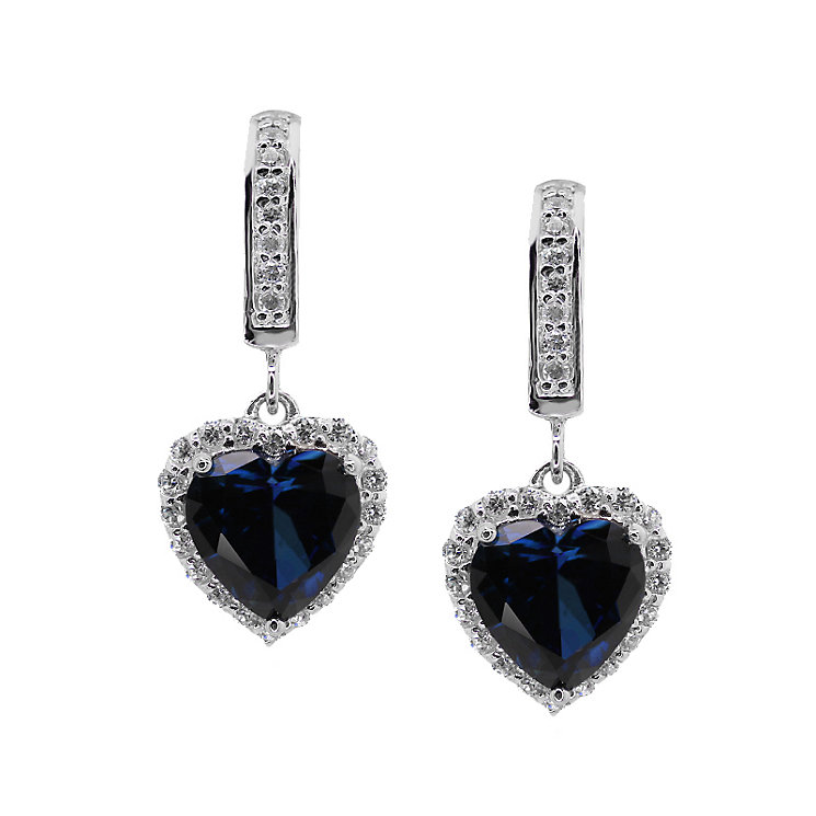 CARAT* silver created sapphire heart shaped drop earrings - Product number 2406209
