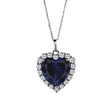 CARAT* sterling silver created sapphire heart pendant - Product number 2406217