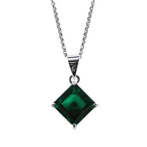 CARAT* 9ct white gold created emerald princess cut pendant - Product number 2406276