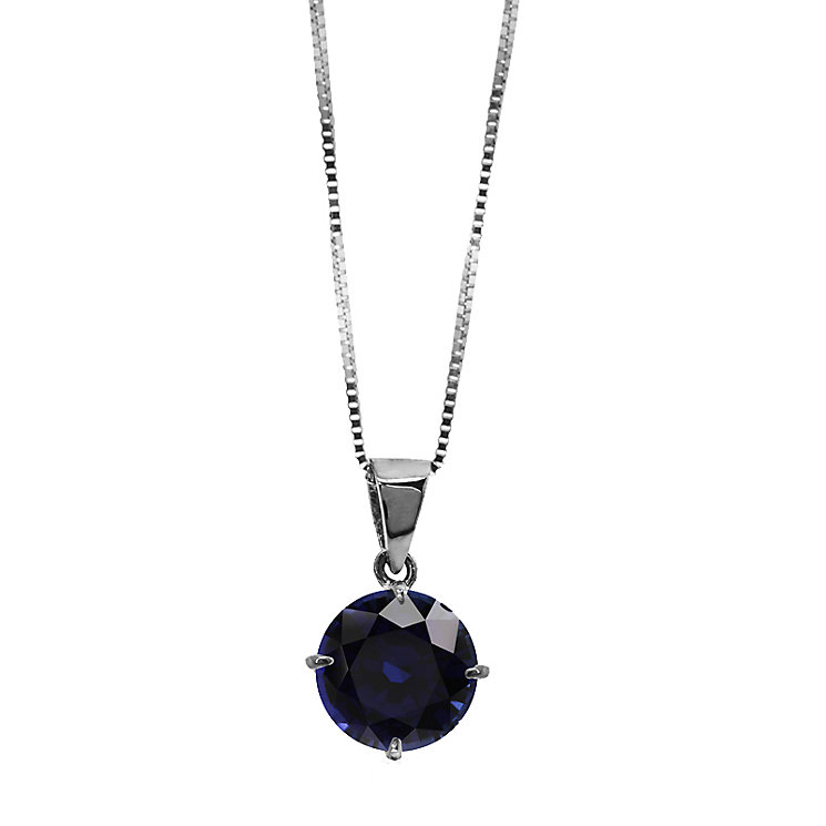 CARAT* 9ct white gold created sapphire pendant - Product number 2406292