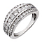 18ct white gold one carat diamond three row ring - Product number 2407345