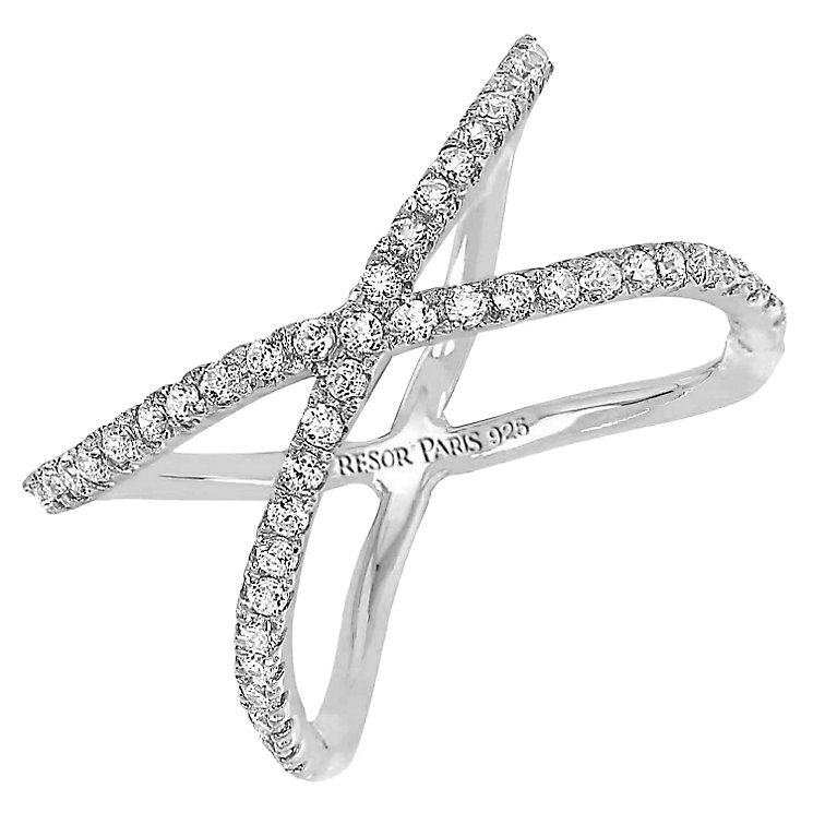 Tresor Paris Allure crystal & white gold-plated ring size L - Product number 2409100