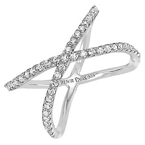 Tresor Paris Allure crystal & white gold-plated ring size N - Product number 2409232