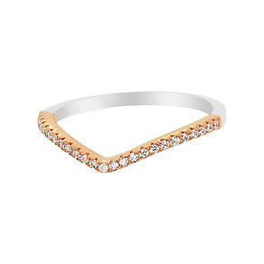 Tresor Paris Allure silver & rose tone crystal ring size L - Product number 2409275
