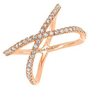 Tresor Paris Allure crystal & rose gold-plated ring size P - Product number 2409372