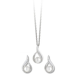 Silver Freshwater Pearl & Diamond Earring & Pendant Set - Product number 2416239