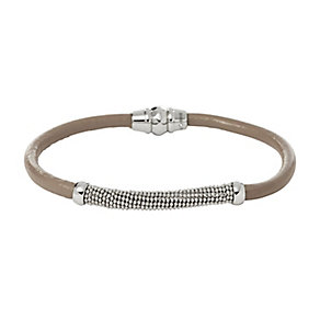 Fossil Silver Tone Bead & Grey Leather Bracelet - Product number 2428954
