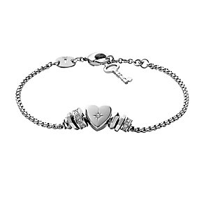 Fossil Silver Tone Crystal Detail Heart Charm Bracelet - Product number 2429098