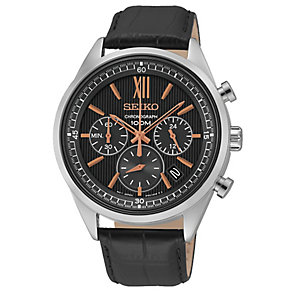 Seiko Men's Black Leather Chronograph Watch - Product number 2434970