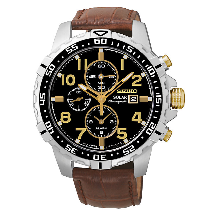 Seiko Men's Brown Leather Solar Chronograph Watch - Product number 2435284